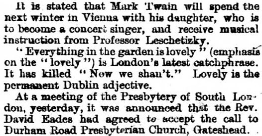 'everything in the garden is lovely' - Northern Daily Mail and South Durham Herald (Hartlepool, County Durham) - 22 July 1897