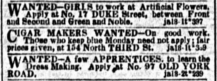 to keep blue Monday - Public Ledger (Philadelphia) 18 January 1851