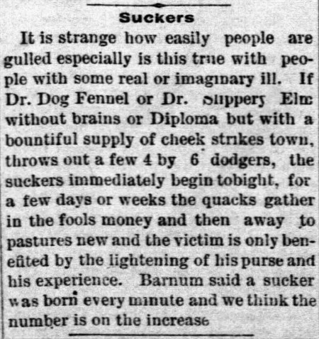 'sucker born every minute' Barnum - Neosho County Journal (Osage Mission, Kansas) - 6 June 1889