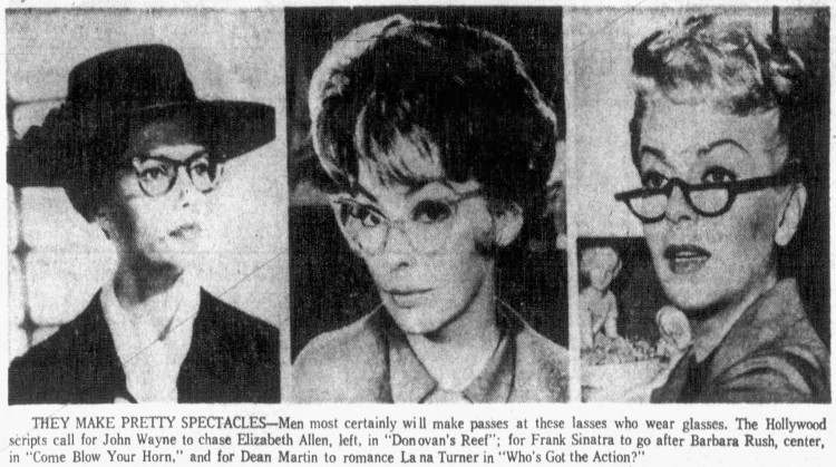 'passes at lasses who wear glasses' - The South Bend Tribune (South Bend, Indiana) - 23 November 1962