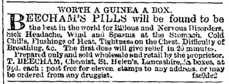 ad for Beecham's Pills - Liverpool Mercury (Lancashire) - 9 September 1859