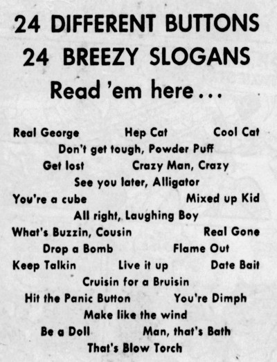 see you later alligator - slogans -Akron Beacon Journal - 14 August 1955