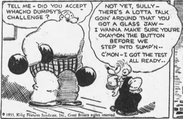 'glass jaw' Barney Google 1 - San Francisco Examiner (San Francisco, California) - 8 February 1933