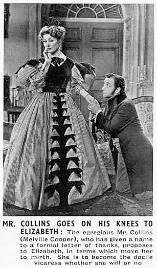 Mr. Collins goes on his knees to Elizabeth – Pride and Prejudice (1940 film) – The Sphere (London) – 9 November 1940