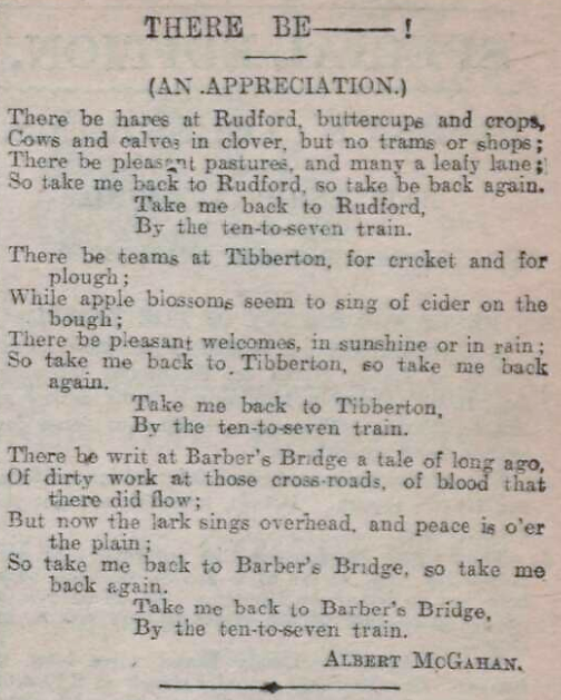 'dirty work at the crossroads' - Barber's Bridge monument - The Citizen (Gloucester) - 30 May 1906