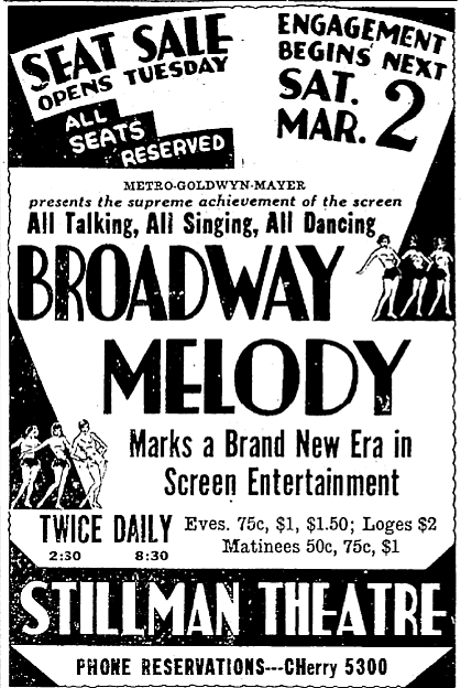 advertisement for The Broadway Melody - Cleveland Plain Dealer (Ohio) - 25 Feb. 1929
