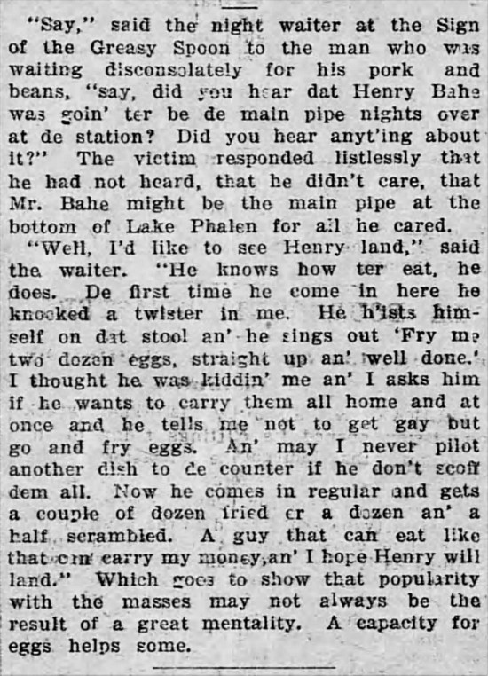 'greasy spoon' - The Saint Paul Globe (St. Paul, Missouri) - 13 July 1898