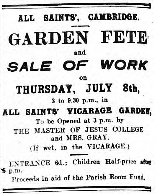 'if wet, in the vicarage' - Cambridge Daily News (Cambridge, Cambridgeshire, England) - 7 July 1920