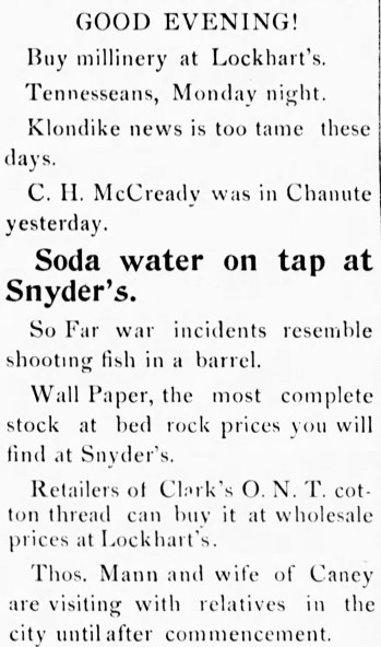 'shooting fish in a barrel' - Neodesha Daily Derrick (Neodesha, Kansas) - 29 April 1898