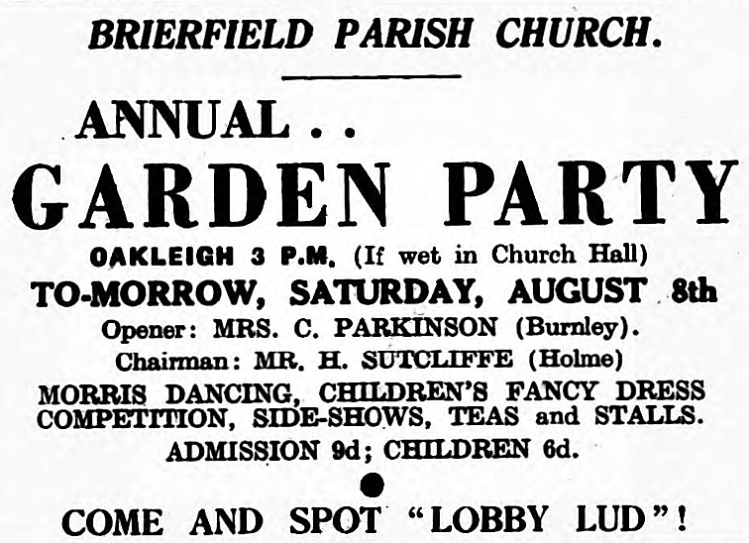 Lobby Lud (generic name) - The Nelson Leader (Nelson, Lancashire, England) - 7 August 1953