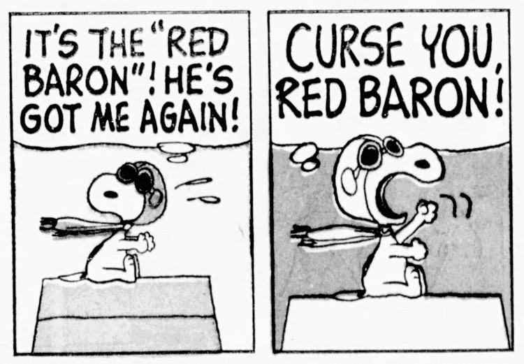 'curse you, Red Baron' Peanuts - Salinas Californian (Salinas, California) - 5 February 1966
