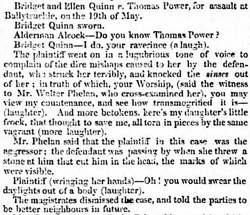 to [verb] the daylights out of somebody' - Weekly Waterford Chronicle (Ireland) - 23 May 1840