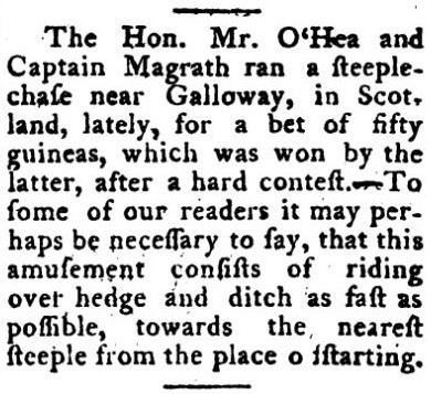 earliest occurrence of 'steeplechase' - The Sporting Magazine (London) - April 1793