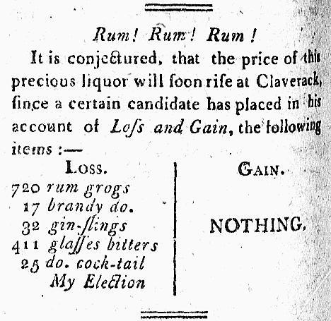 cocktail' - The Balance, and Columbian Repository (Hudson, New York, USA) - 6 May 1806