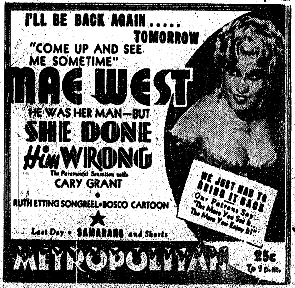 advertisement for She Done Him Wrong - The Evening Star (Washington, DC) - 3 August 1933