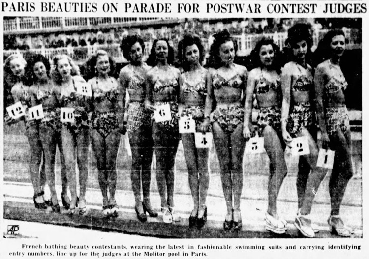 swimwear contest Molitor pool Paris - Bergen Evening Record (Hackensack, New Jersey) - 13 July 1946