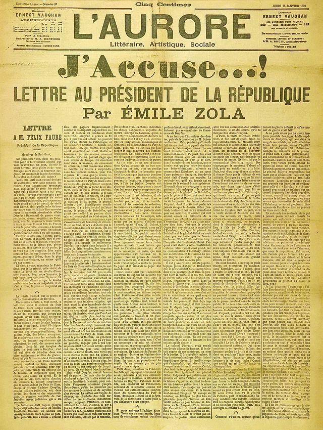 L'Aurore - 13 January 1898 - J'accuse !