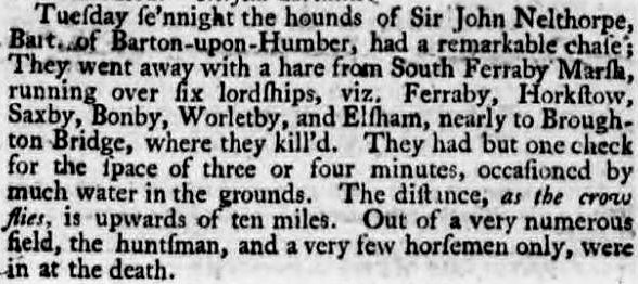 'as the crow flies' - Lincoln, Rutland, and Stamford Mercury - 21 January 1791