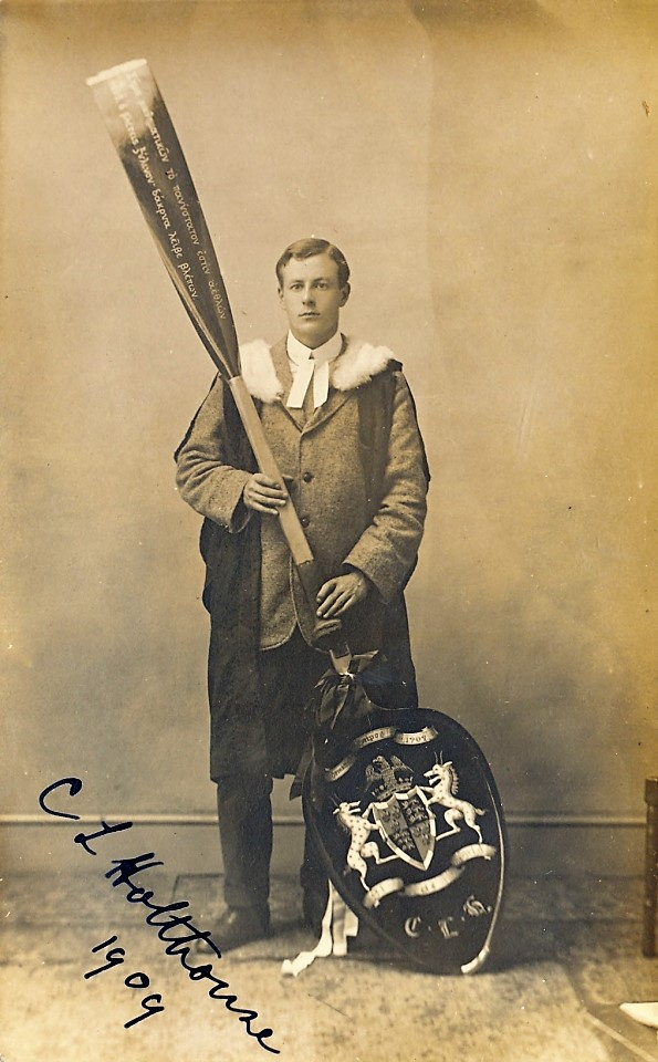 Cuthbert Holthouse with his wooden spoon in 1909