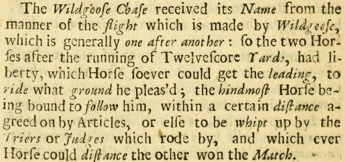 wild-goose chase' - The Hunter. A Discourse of Horsemanship (Oxford, 1685), by Nicholas Cox
