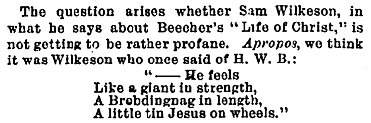 'little tin Jesus on wheels' - Daily Graphic (New York City, N.Y., USA) - 7 August 1874