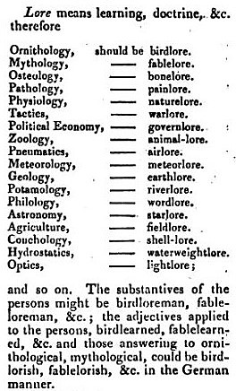 suffix -lore - Gentleman's Magazine - June 1830