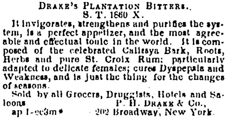 ad for Drake's Plantation Bitters - Evening Star (Washington, D.C.) - 1 April 1862