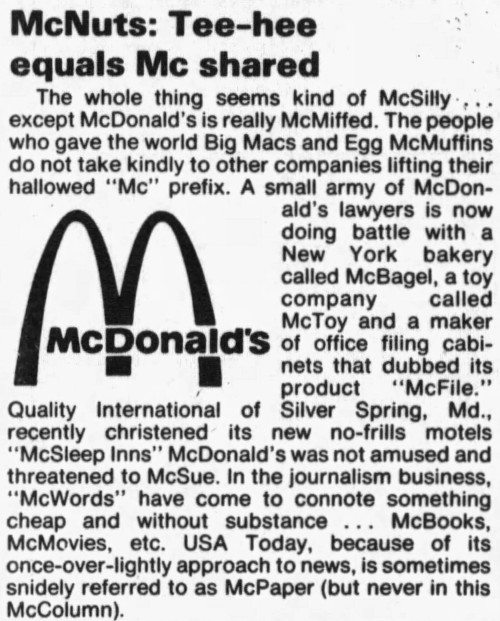 prefix 'Mc-' - The Miami News (Miami, Florida) - 23 October 1987
