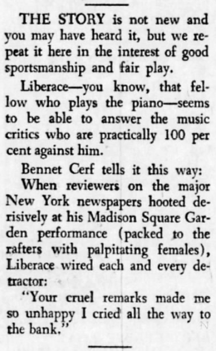 'to cry all the way to the bank' - Liberace - Southern Illinoisan (Carbondale, Illinois) - 2 July 1954