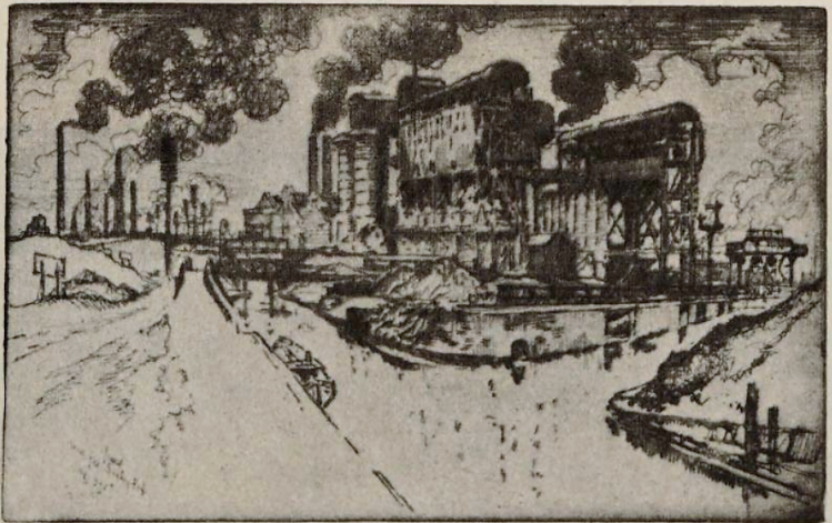 Mond Gas, Dudleyport – etching, 1909, by Joseph Pennell