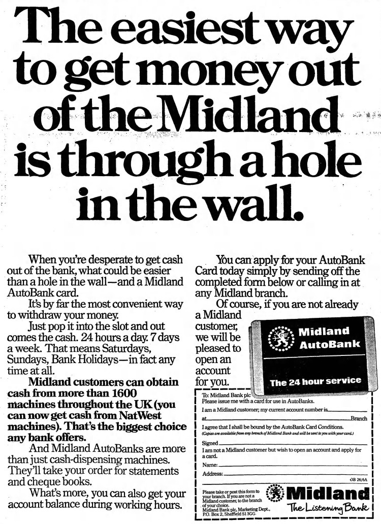 'hole in the wall' Midland Bank - The Observer (London, England) - 26 June 1983