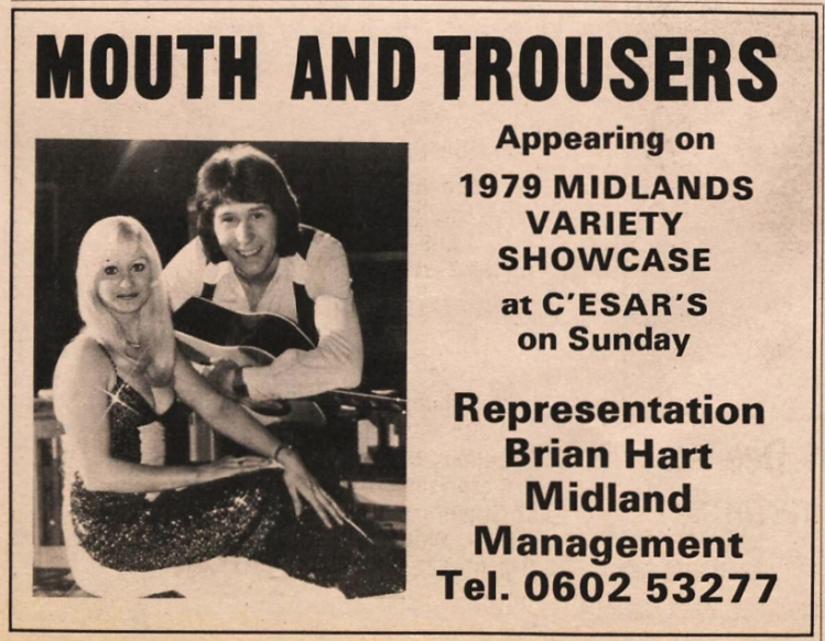 Mouth and Trousers (Suzy Breeze and Tom Bright) - The Stage (London) - 18 January 1979