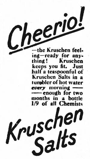 advertisement for Kruschen Salts - Yorkshire Evening Post (Leeds, Yorkshire, England) - 10 March 1921