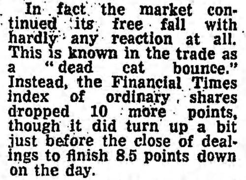 'dead-cat bounce' - The Guardian (London & Manchester) - 22 September 1981