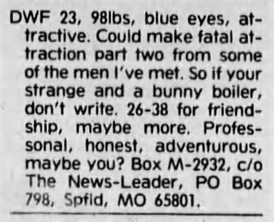 bunny boiler' applied to a man - The News-Leader (Springfield, Missouri) - 12 March 1991