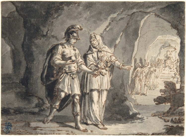 Aeneas and the Sibyl in the Underworld, by Arnold Houbraken