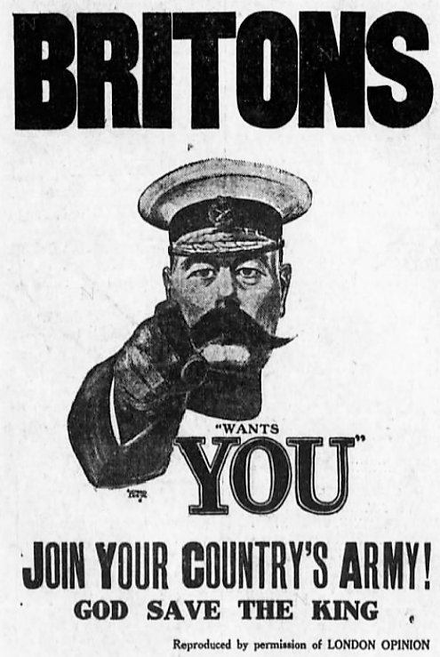 'Kitchener Wants You' poster - The Brooklyn Daily Eagle (Brooklyn, New York City) - 5 February 1915