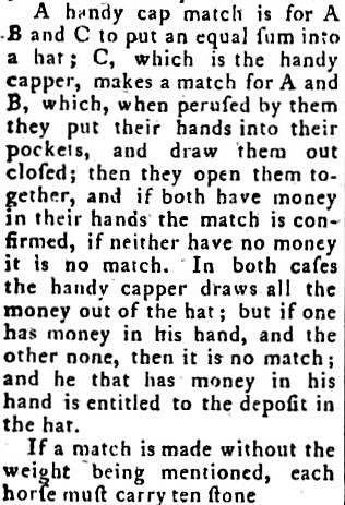 handicap - Sporting Magazine (London) - February 1793