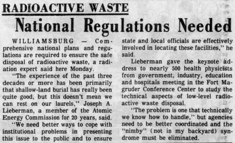 Nimby' – Radioactive Waste - National Regulations Needed – Daily Press (Newport News, Virginia) – 13 February 1979