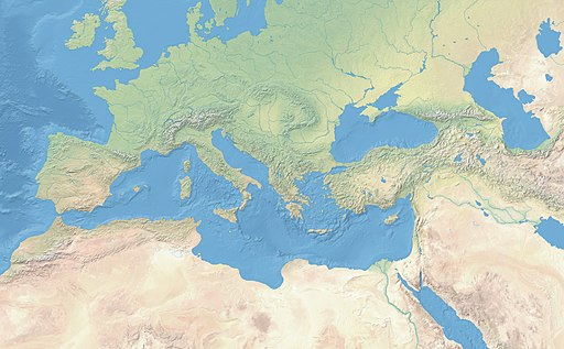 Mediterranean Basin and Near East before 1000 AD - topographic map
