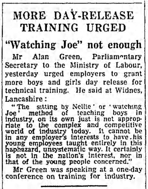 'sitting by Nellie' 'watching Joe' - The Guardian (Manchester - Lancs) 13 April 1962