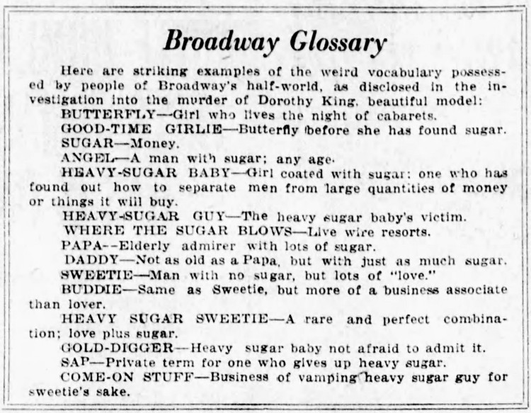 Broadway Glossary - Evening Journal (Wilmington, Delaware) - 28 March 1923