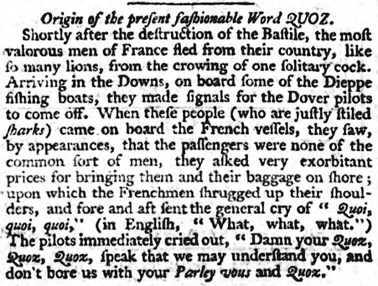 quoz' - Bury and Norwich Post (Bury St Edmunds, Suffolk, England) - 23 September 1789