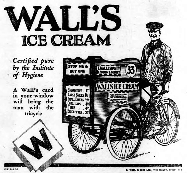 advertisement fo Wall's Ice Cream - The Citizen (Gloucester, Gloucestershire, England) - 11 April 1930