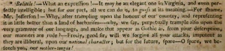 belittle - Jefferson - The European Magazine, and London Review - August 1787