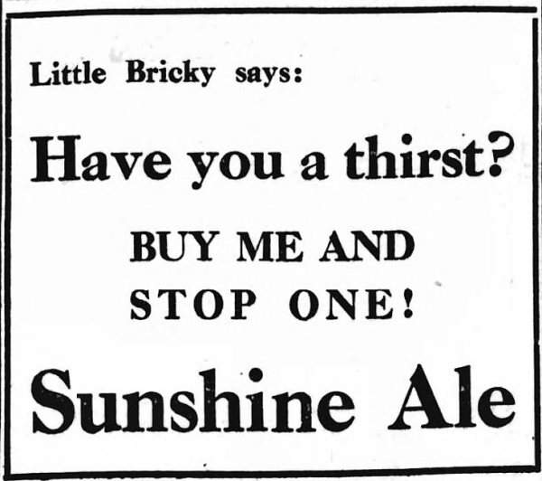 advertisement for Sunshine Ale - The Evening News (Portsmouth, Hampshire, England) - 20 May 1930