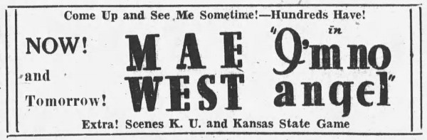 advertisement for 'I'm No Angel' - The Morning Chronicle (Manhattan, Kansas) - 3 November 1933