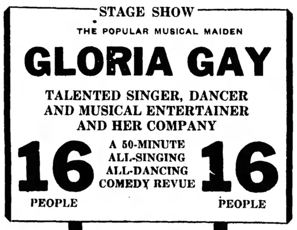 'all-singing all-dancing' advertisement for stage show - Bakersfield Californian - 2 September 1933