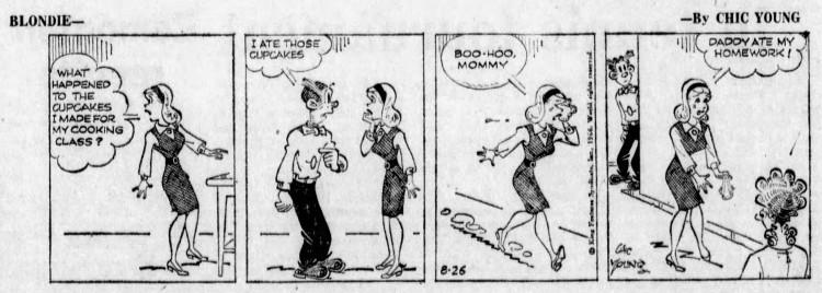 Blondie 'Daddy ate my homework' - The Leader-Post (Regina, Saskatchewan, Canada) - 26 August 1966