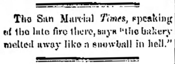 a snowball in hell' - Rio Grande Republican (Las Cruces, New Mexico) - 27 January 1883